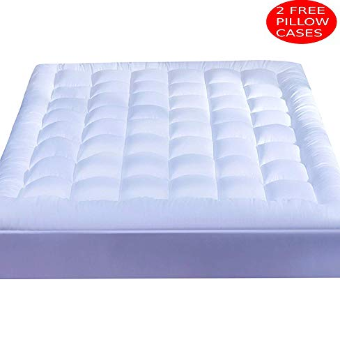 Mattress Topper Queen ❤ (2 Bonus Pillow Cases )❤ Plush Down Alternative Quilted Fitted Skirt Protector Mattress Pad Reviver Enhancer Deep Pocket Fits 8-21 Inches Hypoallergenic Soft White Bed Cover -