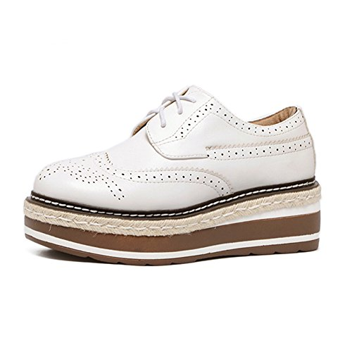 Womens Platform Fashion British style Sneakers Mid Heel Casual Lace Up Shoes White c7NPmGl