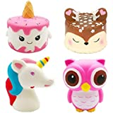 Bestkiy 4 Packs Jumbo Squishies Toy Set-Unicorn Narwhale Cake,Deer Cake,Unicorn Horse,Kawaii Pink Owl Squishy Cream Scented Toy Soft Slow Rising Squishy Doll Party Supplies Favors Kids Gift