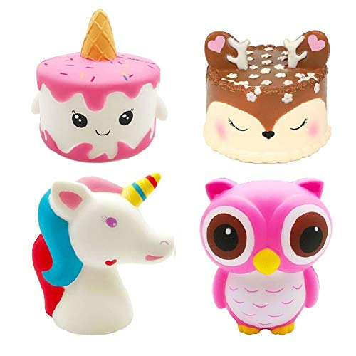 Bestkiy 4 Packs Jumbo Squishies Toy Set-Unicorn Narwhale Cake,Deer Cake,Unicorn Horse,Kawaii Pink Owl Squishy Cream Scented Toy Soft Slow Rising Squeeze Doll Party Supplies Favors Kids Gift -