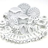 EUBEST 10 Sets (33 Pcs) Plunger Cutters Sugarcraft Cake Decorating (Heart, Veined Butterfly, Star, Daisy, Veined Rose Leaf ,Carnation, Blossom, Flower, Sunflower , Other)