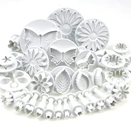 RoyalStyle 33 Piece Fondant Cake Cookie Plunger Cutter Sugarcraft Flower Leaf Butterfly Heart Shape Decorating Mold DIY Tools 12 Set contains 33pcs shaped cutters and plungers. Cutters include 3 sunflowers/gerberas, 3 veined leaf, 3 butterfly, 4 blossoms, 4 daisy/marguerite, 3 stars, 3 hearts and 3 sets of various other flower/calyx cutters. The cutters are ideal for sugarpaste cake decorations as they have such fine detail.
