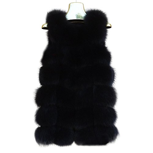Manka Vesa Women's Real Cape Fox Fur Vest Sleeveless Long Coat Fluffy Waistcoat Outwear Jacket Black