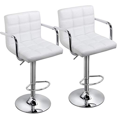 Yaheetech Tall Bar Stools Set of 2 Modern Square PU Leather Adjustable BarStools Counter Height Stools with Arms and Back Bar Chairs 360° Swivel Stool White ()