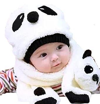 koobea Mignon Bonnet Chaud Chapeau Panda Bebe Enfant + Echarpe Hiver Automne 57d2ef94d32
