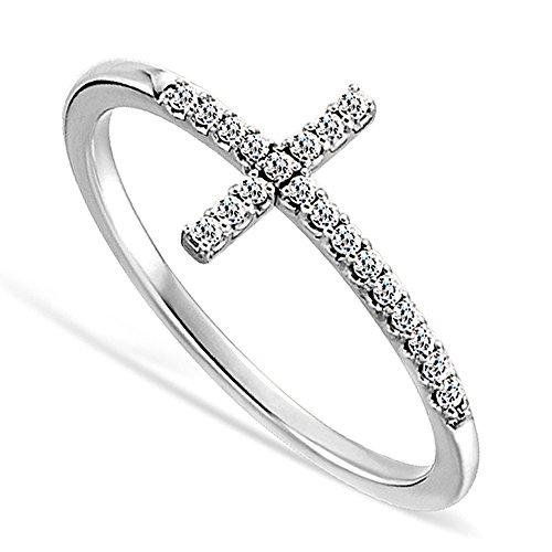 DTLA Sideways Cross CZ Sterling Silver .925 Ring (10)