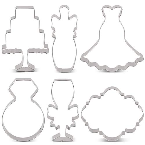 LILIAO Wedding Cookie Cutter Set for Anniversary/Bridal/Engagement - 6 Piece - Diamond Ring, Wedding Dress, Cake, Plaque, Champagne with Ribbon and Champagne Glass with Ribbon - Stainless Steel