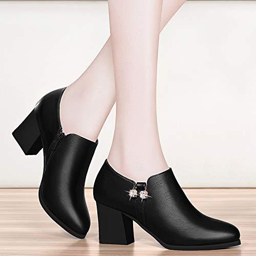 shoes Claret AJUNR rough Women's middle heels shoes shoes shoes High aged single Work Ladies heels C6rUxOC