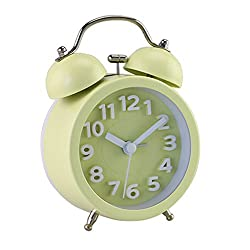 PiLife 3 Mini Non-ticking Vintage Classic Bedside /Table Anolog Alarm Clock with Backlight , Battery Operated Travel Clock, Round Twin Bell Loud Alarm Clock( 3D Yellow)