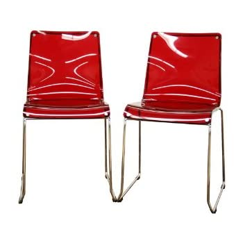 Amazon Com Lino Transparent Red Acrylic Dining Chair Set