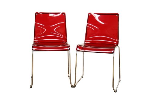 Baxton Studio Lino Transparent Red Acrylic Dining Chair, Set of 2