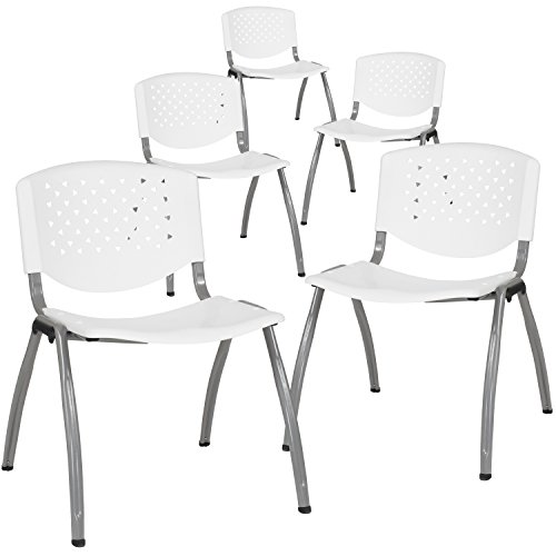 (Flash Furniture 5-RUT-F01A-WH-GG White Plastic Stack Chairs, 5 Pack,)