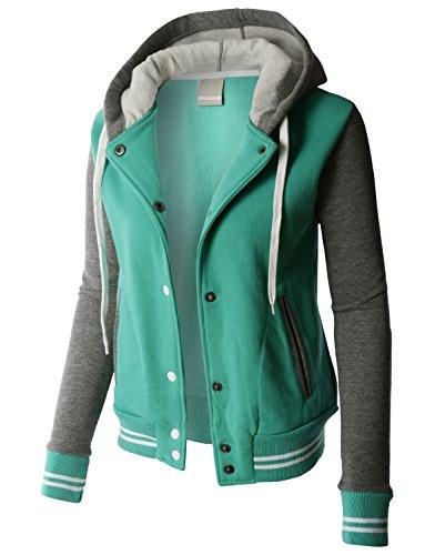 LE3NO Premium Womens Contrast Sleeve Fleece Varsity Baseball