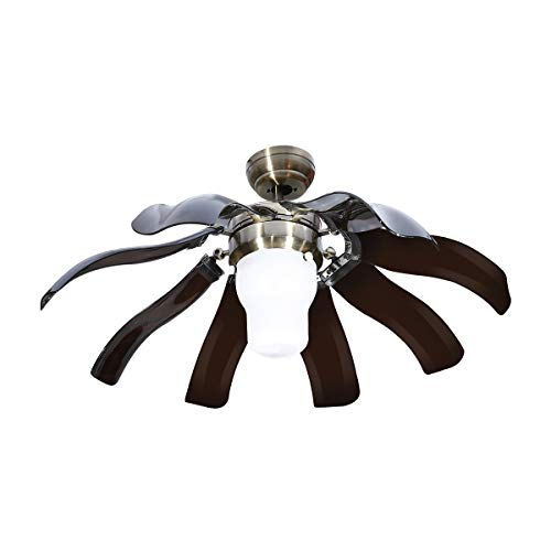 TC-Home 42 Inch Modern Style Retractable Ceiling Fan with Dimmable LED Light Brown Blades Three-Color Changing Light w/Remote Control
