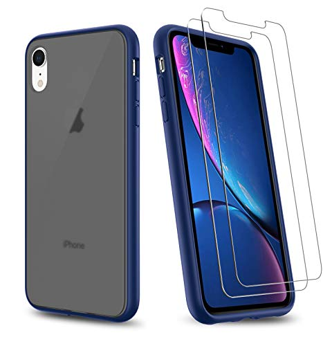 UNIWILAND 2-in-1 iPhone XR Case with 2 Packs Screen Protector, Matte Black Back Drop Protection Frosted Case & HD Tempered Glass Screen Protector for iPhone XR (Blue)