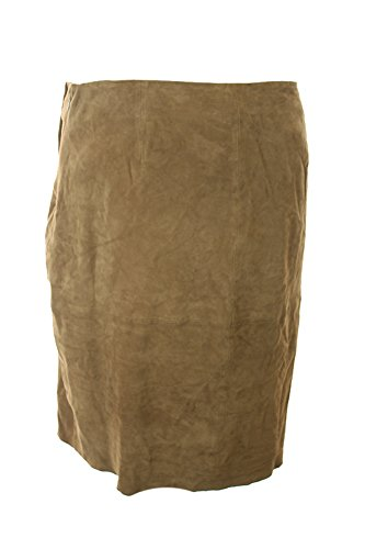 Ralph Lauren Brown Asymmetrical Suede Pencil Skirt Size 12 by RALPH LAUREN