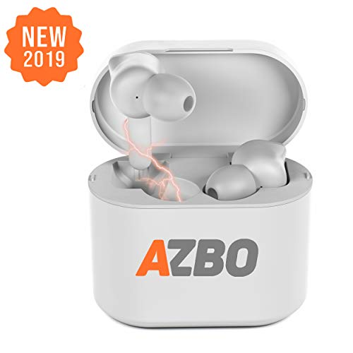 True Wireless Bluetooth Earbuds 5.0 - iOS Android Compatible in-Ear Headphones - IPX Waterproof Stereo Sound Earphones with Built-in Microphone and Charging Case - 7 Hours Extended Playtime (White)