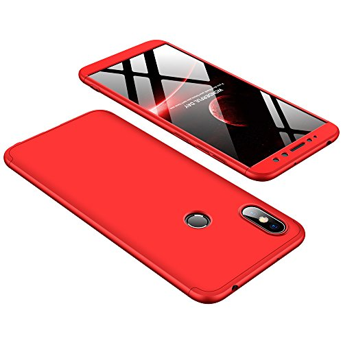 - Xiaomi Redmi S2 Case, Lisuixi 3 in 1 360 Full Body Hard PC Ultra Thin Matte Surface Case Encase Combined Durable Anti-Slip Ultralight Slim Business Man Cover for Xiaomi Redmi S2 2018 Red