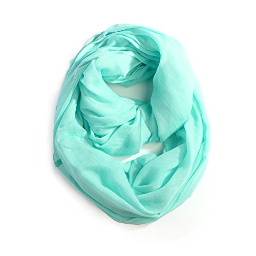 Me Plus Women Cotton Solid Soft Light Weight Loop Circle Neck Wrap Infinity Scarf (Mint)