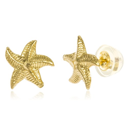 14k Yellow Gold Baby Starfish Stud Earrings with Silicone Back (14k Gold Starfish Earrings)