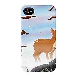 Deer in the Snow Full Wrap High Quality 3D Printed Case for iPhone 4 / 4s by Nick Greenaway + FREE Crystal Clear Screen Protector