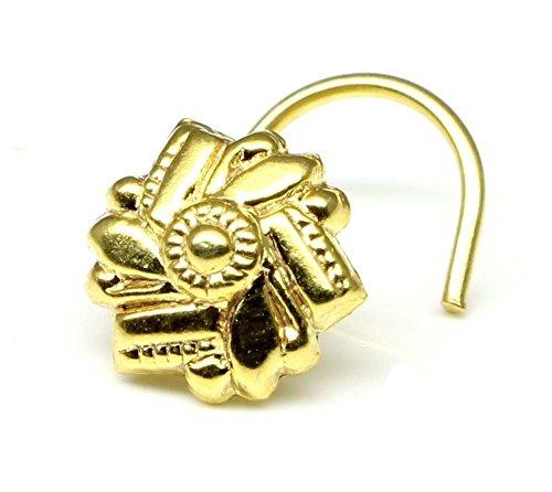 Karizma Jewels Ethnic Indian nose Ring, piercing nose ring, Asian gold plated nose ring (Right Nostril)