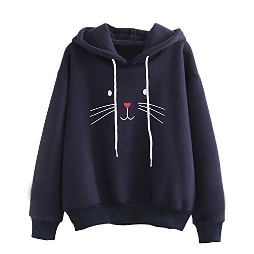 Sinfu Clearance! Women Autumn Long Sleeve Solid Cat Printing Hooded Sweatshirt Blouse Tops T Shirt Gift (XL, Nany) -