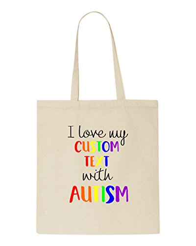 Shopper My Bag Awareness Autism Beige I Love Custom Tote With Text Zwwaqz