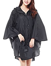 LOHASCASA Women's Waterproof Raincoat Lightweight Packable Rain Coat Poncho Hooded