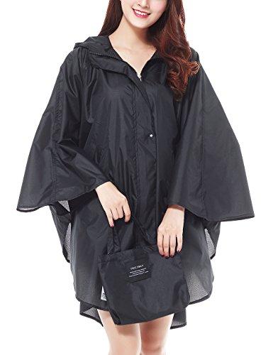 LOHASCASA Rain Poncho for Adults Reusable Waterproof Rain Coat Black