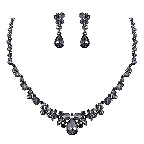 (EVER FAITH Women's Rhinestone Crystal Elegant Wedding Floral Teardrop Necklace Earrings Set Grey Black-Tone)