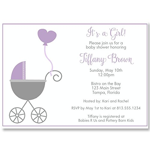 Baby Shower Invitations, Buggy Baby, Purple, White, Grey, Gray, Girl, It's A Girl, Balloon, Set of 10 Custom Printed Invites with Envelopes