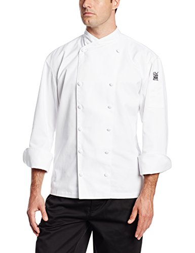 Chef Revival J006 Chef-Tex Poly Cotton Corporate Chef Jacket with White Piping and Cloth Covered Button Style, Large, White (Chef Clothing Revival)
