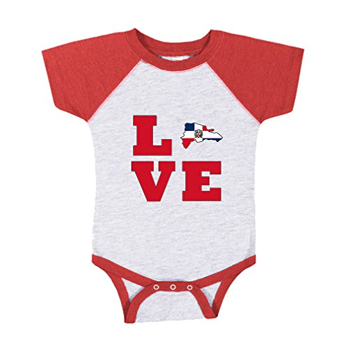 Cute Rascals Love Dominican Republic Country Flag Map Baseball Raglan Bodysuit Gray/Red 6 Months (Flag Country Republic)