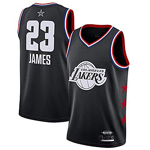 YDD Basketball Uniform- NBA Lakers 23# James Embroidered Mesh Basketball Swingman Jersey Stitched Letters and Numbers,blackXXL(95~110kg)