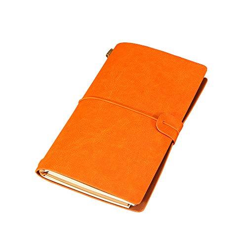 Refillable Vintage Leather Notebook, Handmade Travel Journal Writing Diary, Gift for Men&Women (Orange) ()