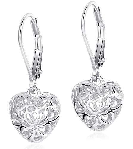 Sllaiss Heart Earrings Hollow Shaped S925 Sterling Silver Leverback Earrings for Women Girls Dangle Drop Earrings Silver Plated ()