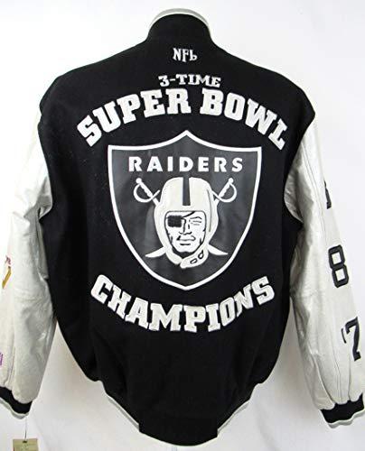 G-III Sports Oakland Raiders Mens Size Medium Full Zip 3 Time Super Bowl Champions Wool Leather Varsity Jacket ARAD 178 A1 2240