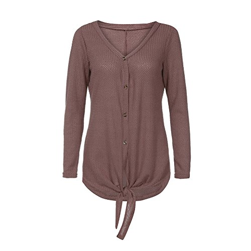 REYO Clearance Sale Womens Solid Waffle Knit Tunic Blouse Tie Knot Henley Button Tops V-Neck Loose Bat Wing Plain Shirts