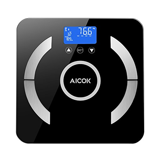Aicok Digital Body Fat Scale, Bathroom Scale, Digital Weight Scale with Step-On Technology, Tempered glass, Measures Weight, Body Fat, Water, Muscle, Calorie, BMI and Visceral Fat, Black