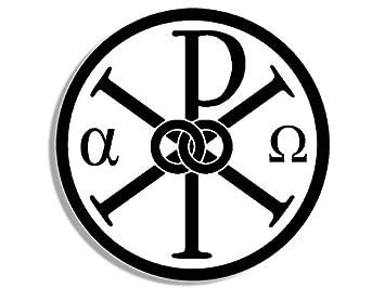 Amazon ROUND Alpha Omega Chi Rho Symbol Sticker greek letter