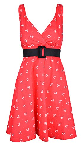 Retrokleid Leany Kleid Sailor Küstenluder Damen Anker Rot qZwFBXEv