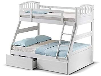 White Wood Kids Triple Sleeper Bunk Bed Frame 3ft Mattress