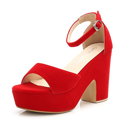 CAMSSOO Women's Solid Color Open Toe Ankle Strap High Heels Wedge Sandals Block Heel Plarform Shoes Red Velveteen US7.5 EUR38