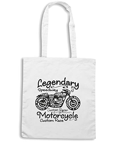 TB0473 Shopper MOTORCYCLE Speed 22 Shirt Bianca Borsa VINTAGE AZwWzF6q