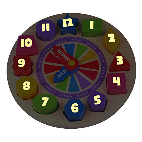 Fat Brain Toys Glow in The Dark Clock Puzzle - What Time is It? Glow in The Dark Clock Puzzle Early Learning Toys for Ages 3 to 4