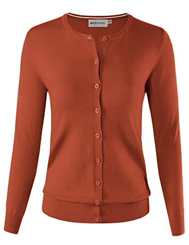 (MAYSIX APPAREL Womens Long Sleeve Lightweight Button Down Round Neck Knit Sweater Cardigan RUST L)