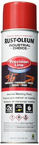 - Rust-Oleum Corporation 203038 Rust oleum M1800 System Precision Line Inverted Water Based Marking Spray Paint, Safety, 17-Ounce, Red