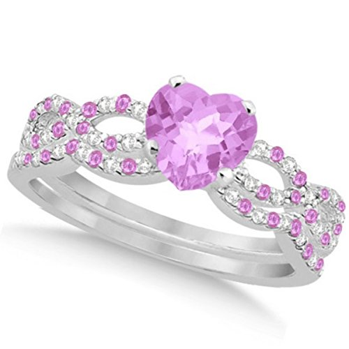 Preset Diamond and Pink Sapphire Engagement Ring and Contoured Band Bridal Set 14k White Gold 1.74ctw
