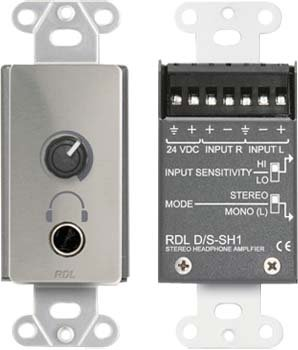 RDL DS-SH1 Stereo Headphone Amplifier Decora Panel - Power Supply Included